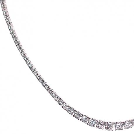 Womens Round Diamond Graduated Tennis Necklace 18K White Gold
