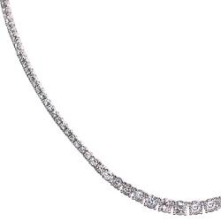 18K White Gold 9.35 ct Round Diamond Graduated Tennis Necklace