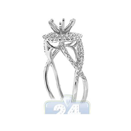 14K White Gold 0.49 ct Diamond Double Halo Infinity Engagement Ring Setting