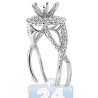 14K White Gold 0.49 ct Diamond Double Halo Infinity Engagement Ring Setting