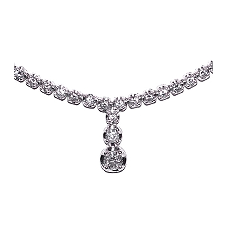 Womens Diamond Drop Y Shape Tennis Necklace 18K White Gold 16""