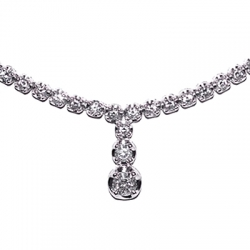 18K White Gold 3.14 ct Diamond Drop Y Shape Tennis Necklace