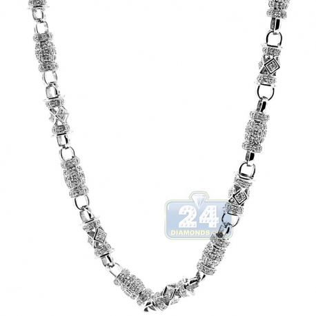 Mens Diamond Bar Link Chain Solid 14K White Gold 10.9ct 7mm 30""