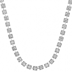 14K White Gold 8.57 ct Diamond Square Halo Link Tennis Necklace