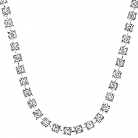 Womens Diamond Square Link Tennis Necklace 14K White Gold 8.57ct