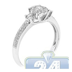14K White Gold 0.55 ct Diamond Cluster Multistone Womens Engagement Ring