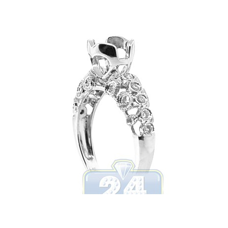 14K White Gold 0.33 ct Diamond Vintage Openwork Engagement Ring Setting