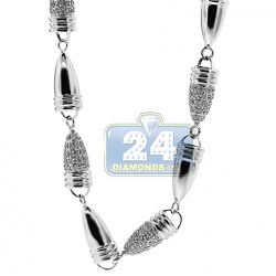 14K White Gold 7.03 ct Diamond Bullet Link Mens Chain 30 Inches