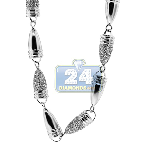 076988a150bc5 14K White Gold 7.03 ct Diamond Bullet Link Mens Chain 30 Inches