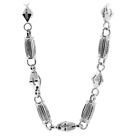 "Mens Diamond Fancy Bar Link Chain 14K White Gold 6.85ct 6mm 30"""