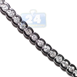 18K White Gold 4.16 ct Bezel Set Diamond Womens Tennis Necklace
