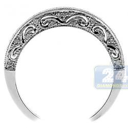 14K White Gold 0.25 ct Diamond Vintage Patterned Wedding Band Ring