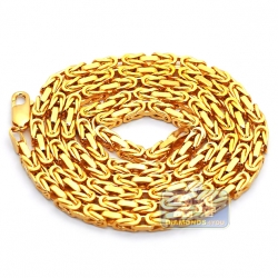 Pure 24K Yellow Gold Solid Byzantine Mens Chain 4 mm