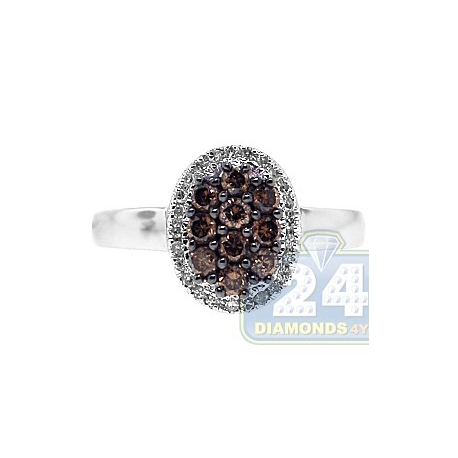 14K White Gold 0.50 ct Mixed Brown Diamond Cluster Womens Oval Ring