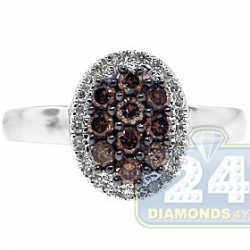 14K White Gold 0.50 ct Mixed Brown Diamond Womens Oval Ring