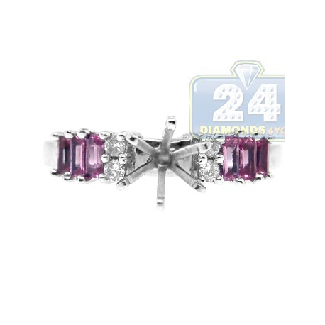 14K White Gold 0.65 ct Diamond Pink Sapphire Engagement Ring Setting