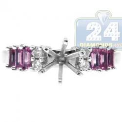 14K White Gold 0.65 ct Diamond Sapphire Engagement Ring Setting