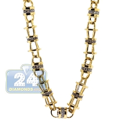 Mens Diamond Open Bar Link Chain 14K Yellow Gold 7.10ct 5mm 30""