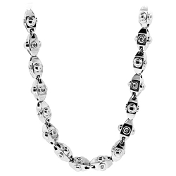 14K White Gold 2.00 ct Diamond Hexagon Bead Link Mens Chain