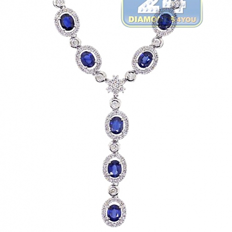 Womens Blue Sapphire Diamond Halo Y Shape Necklace 18K Gold 18""