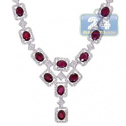 18K White Gold 8.39 ct Ruby Diamond Womens Lariat Necklace
