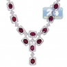"""Womens Ruby Diamond Lariat Necklace 18K White Gold 8.39ct 18"""""""