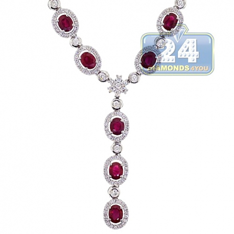 Womens Ruby Diamond Halo Lariat Y Shape Necklace 18K White Gold