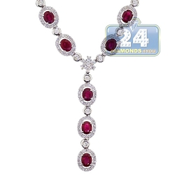 18K White Gold 11.35 ct Ruby Diamond Halo Y Shape Necklace