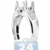 14K White Gold 0.15 ct Diamond Womens Art Deco Engagement Ring Setting