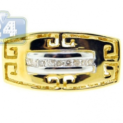 14K Yellow Gold 0.14 ct Diamond Ancient Greek Pattern Ring