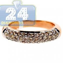 14K Rose Gold 1.01 ct Champagne Diamond Womens Band Ring