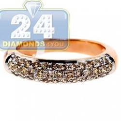 14K Rose Gold 1.01 ct Champagne Diamond Womens Band Ring