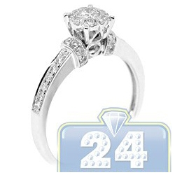 14K White Gold 0.53 ct Diamond Cluster Multistone Womens Engagement Ring