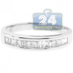 14K White Gold Baguette Channel Set Diamond Womens Band Ring