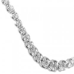 18K White Gold 4.40 ct Diamond Halo Graduated Tennis Necklace