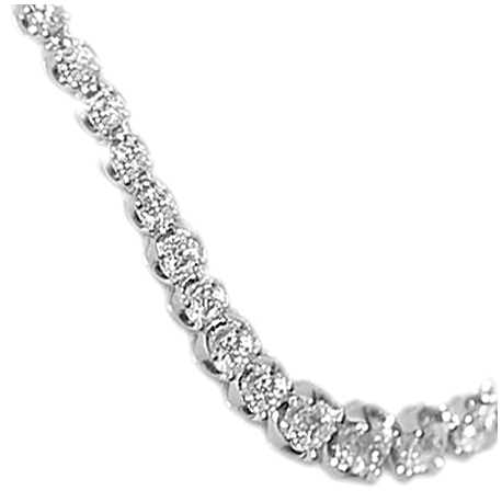 Womens Diamond Halo Graduated Tennis Necklace 18K White Gold