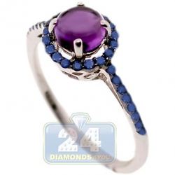 14K White Gold 1.26 ct Amethyst Sapphire Halo Womens Ring