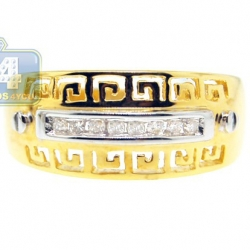 14K Yellow Gold 0.10 ct Diamond Antique Greek Key Pattern Ring