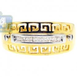 14K Yellow Gold 0.10 ct Diamond Antique Greek Key Pattern Ring