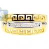 14K Yellow Gold 0.10 ct Diamond Womens Antique Greek Key Pattern Ring