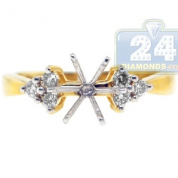 14K Yellow Gold 6 Stone Diamond Engagement Ring Setting
