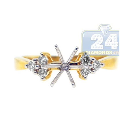 14K Yellow Gold 0.23 ct 6 Stone Diamond Womens Engagement Ring Setting