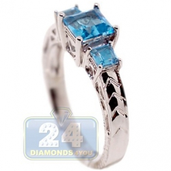 14K White Gold 1.27 ct 3 Stone Blue Topaz Womens Filigree Ring
