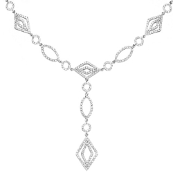 Womens Diamond Geometric Y Shape Necklace 14K White Gold 3.0ct