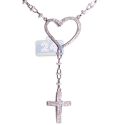 Womens Diamond Heart Rosary Necklace 14K White Gold 4.39ct 17""