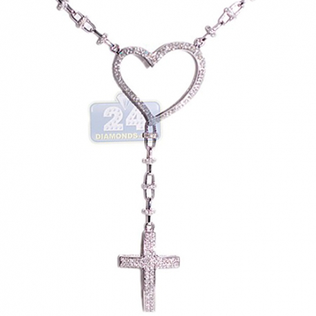 """Womens Diamond Heart Rosary Necklace 14K White Gold 4.39ct 17"""""""