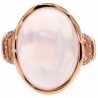 14K Rose Gold 17.49 ct Pink Quartz Cabochon Diamond Womens Cocktail Ring
