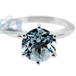 14K White Gold 2.86 ct Aquamarine Solitaire Engagement Ring