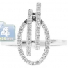 14K White Gold 0.30 ct Diamond Oval Bridge Womens Ring