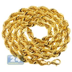 Pure 24K Yellow Gold Solid Rope Mens Chain 7 mm